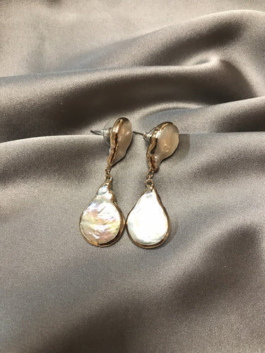 Amisi - Waterdrop Shaped Baroque Pearl Earrings