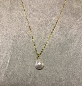 Issa - South Sea Baroque Pearl Necklace with 18K Gold Plated Silver Chain