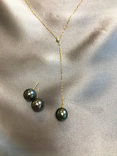 Load image into Gallery viewer, Nalia - Tahiti Salt Water Pearl Necklace with 18K Solid Gold Adjustable Chain