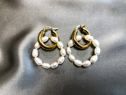 Ida - 18K Gold Plated Baroque Pearl Earrings