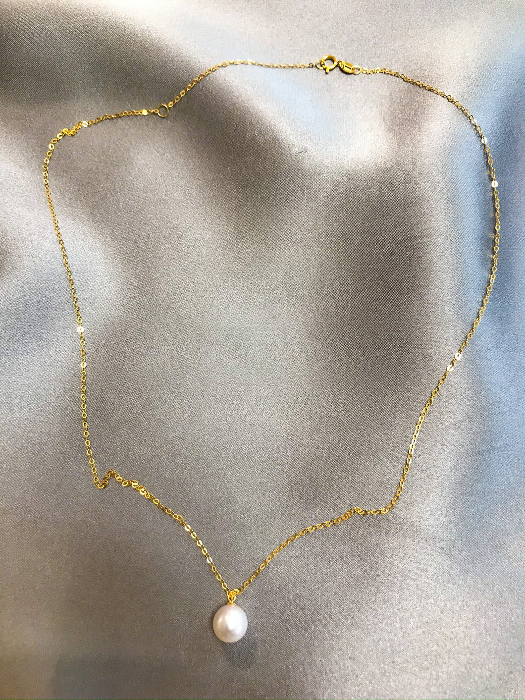 Issa - Japanese Akoya Salt Water Pearl Necklace with 18K Gold Chain