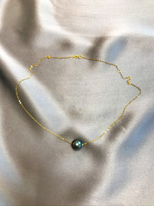 Sillia - Tahiti Salt Water Pearl Necklace with 18K Solid Gold Chain