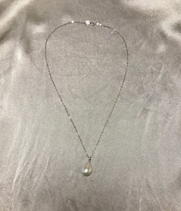 Issa - South Sea Baroque Pearl Necklace with 18K White Gold Plated Silver Chain