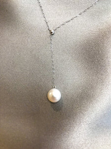 Nalia - Japanese Akoya Salt Water Pearl Necklace with 18K white Gold Adjustable Chain