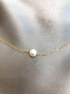 Sillia - Japanese Akoya Salt Water Pearl Necklace with 18K Gold Chain