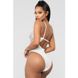 Sexy Exqiusite kwiatowy koronki rzęs Mesh backless Teddy - Magic Pockets