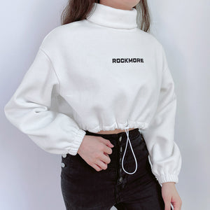 Nowe damskie topy_Spring cross border quick sale popular sexy high collar drawstring letter sweater women's short top a hair substitute  SY-YLBB-10396 - Magic Pockets