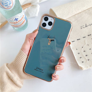 Etui na Iphone Electroplated elk head is suitable for iphone11pro max/8plus apple x phone case XS Max/XR/7p - Magic Pockets