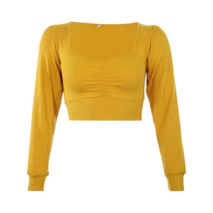 Nowe damskie topy_Prążkowany sexy square collar fold show chest tight bottom long sleeve top SY-YLBB-10420 - Magic Pockets