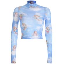 Załaduj obraz do przeglądarki galerii, Nowe damskie topy_Spring and summer new women's small angel printing screen yarn short long-sleeved T shirt jacket a generation. SY-YLBB-10386 - Magic Pockets