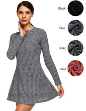 Załaduj obraz do przeglądarki galerii, Women Fashion Casual Long Sleeve Slim Knit Sweater Mini Elastic Dress - Magic Pockets