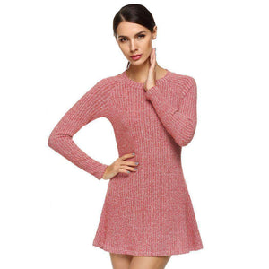 Women Fashion Casual Long Sleeve Slim Knit Sweater Mini Elastic Dress - Magic Pockets