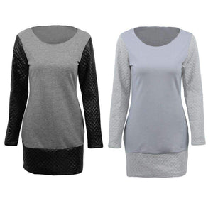 Fashion Women Sweater Dress Contrast Splicing Round Neck Long Sleeve Cocktail Party Dress Grey/Light Grey - Magic Pockets