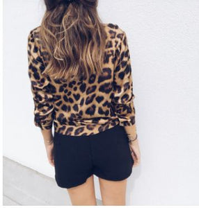 Nowe damskie topy_quick sale popular casual Sexy Leopard V-Neck long sleeve top 4055  SY-YLBB-10441 - Magic Pockets