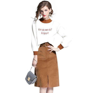 Women's Crew Neck Long Sleeve Sweatershirt and Corduroy Midi Dress Set - Magic Pockets