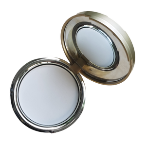 Empty Gold Compact with Mirror for Large Refill Pans