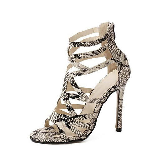 HEE GRAND Women Summer Boots Serpentine Printed PU Leather Shoes Woman Thin High Heels Gladiator Style Sandals Size 35-40 WXG042