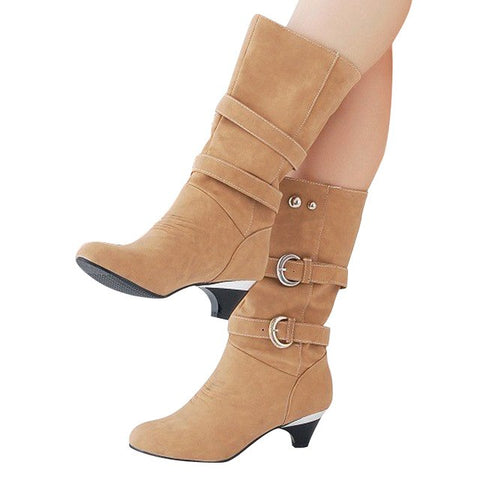HEE GRAND Low High Heels Women Boots Autumn Buckle Mid-Calf Boots Elegant Slip On Pumps Shoes Woman For Ladies Size 35-39 XWX931