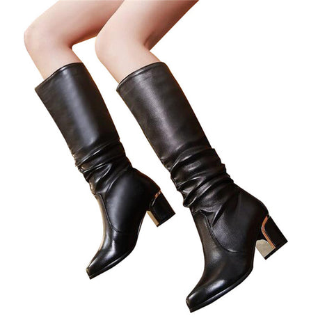 HEE GRAND Women Fashion High Boots Knee-High Boots Thick Med Heel Woman Slip-on Mother's Causal Boots Big Size 35-43 XWX5971