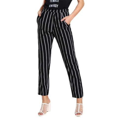SHEIN Elastic Waist Striped High Rise Peg Pants Pocket High Waisted Pants Black and White Zipper Fly Straight Pants
