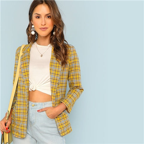 SHEIN Yellow Office Lady Elegant Notch Collar Pocket Front Plaid Longline Highstreet Blazer 2018 Autumn Women Workwear Outerwear