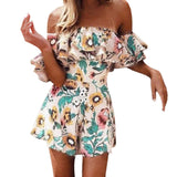 Fashion Siamese pants flower print one word shoulder lotus leaf hem skirt summer sexy women's leisure #YL5