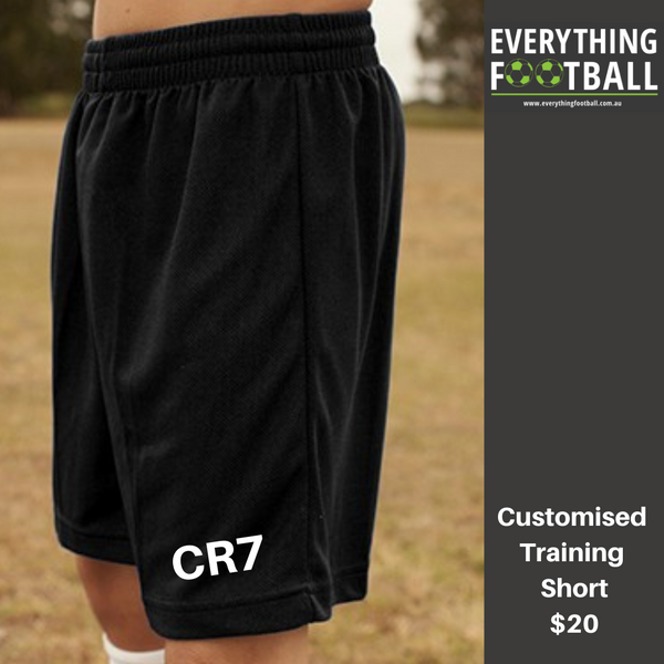 CUSTOMISED CR7 BREEZEWAY SHORTS YOUTH BLACK