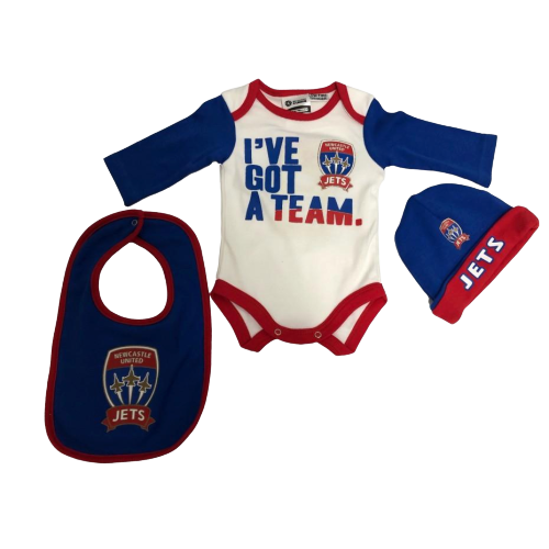 NEWCASTLE JETS BODYSUIT 3PC GIFT PACK YOUTH INFANT - [everything-football].