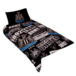 NEWCASTLE UNITED PATCH SINGLE DUVET COVER & PILLOW CASE - [everything-football].
