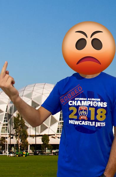 "NEWCASTLE JETS 2018 GRAND FINAL ""ROBBED"" CHAMPIONS MENS T-SHIRT"