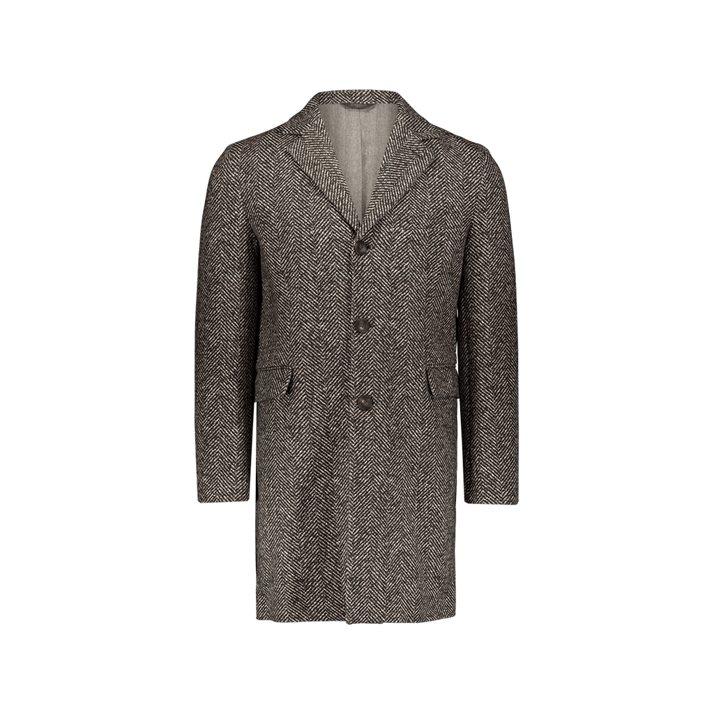 Cappotto Monopetto Herringbone Marrone