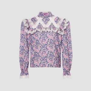 Blusa in mussola Wildflowers Blue