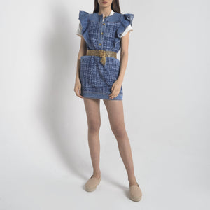 Abito Mini con Rouches Denim