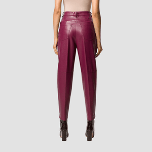 Pantaloni Ecopelle Bordeaux