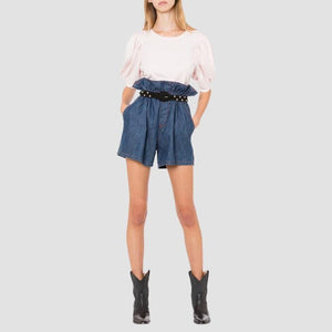 Shorts Vita Alta in Denim
