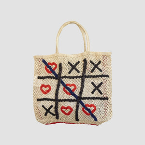 Borsa in Juta Hearts & Cross Naturale
