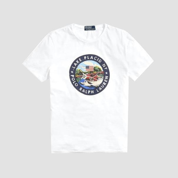 "T-shirt Con Grafica ""Lake Placid"" Bianca"