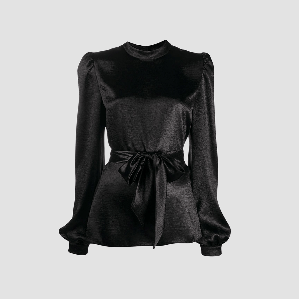 Blusa con colletto coreano Nero