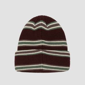 Cappello Beanie a righe Bordeaux
