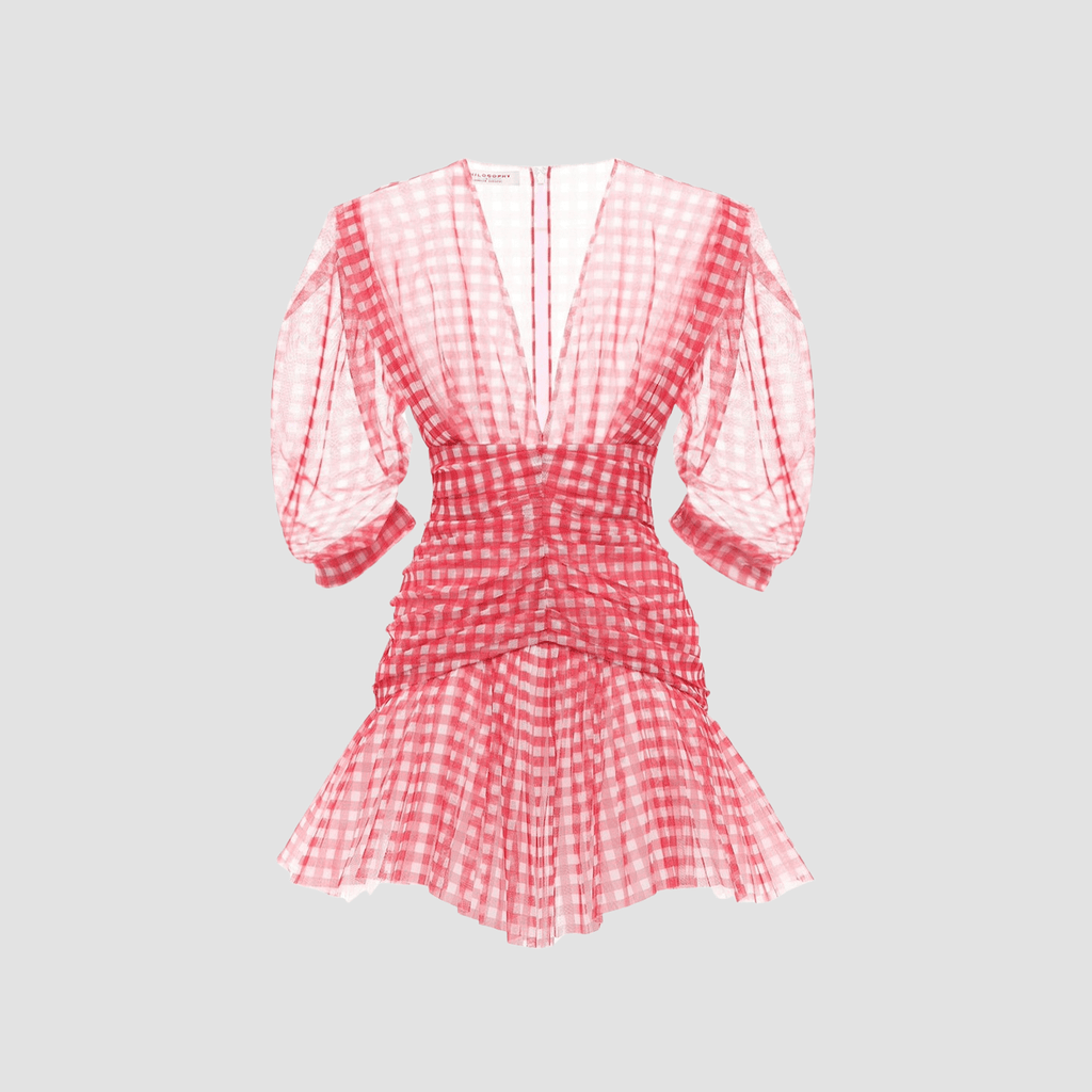 Abito Mini In Tulle Stampa Gingham