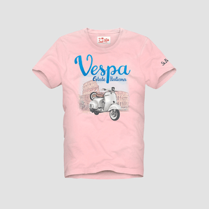 T-Shirt Vespa in Rome Rosa