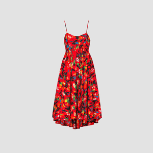 Abito Maxi Painted flower Rosso