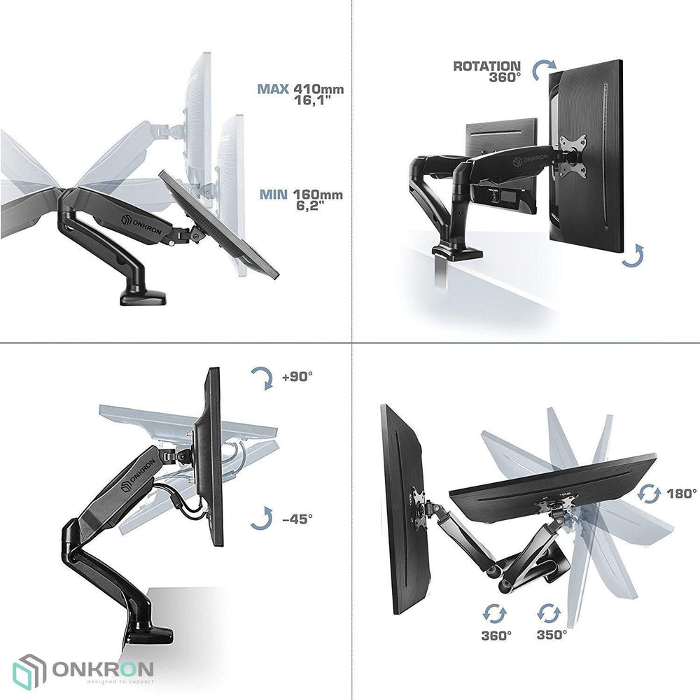 ONKRON Dual Monitor Desk Mount for 13 to 27-Inch LCD LED Computer TV Screens up to 2x 6.5kg G160