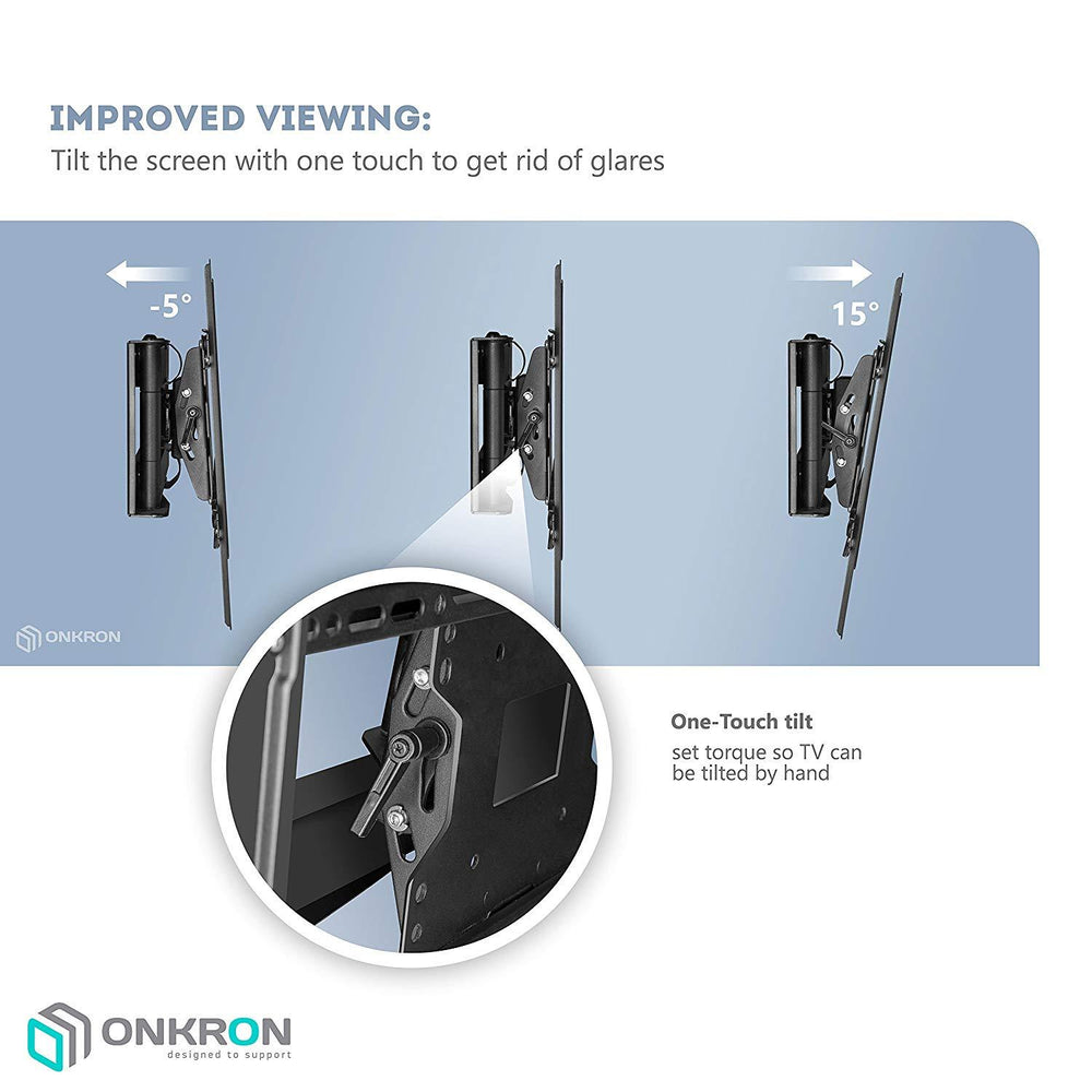 "ONKRON TV Wall Mount Bracket Full Motion Articulating Arm for 40"" - 75 Inch LED LCD Plasma Flat Screen TV M7L"