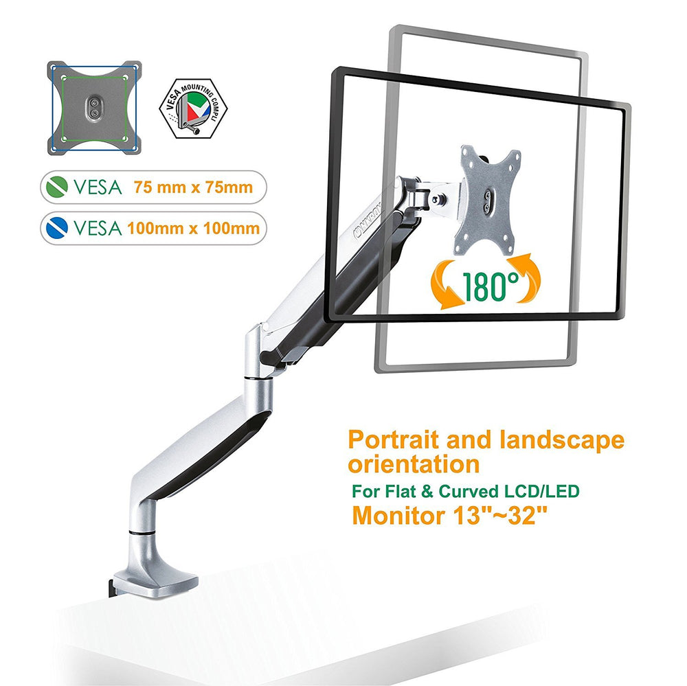 The ONKRON Monitor Desk Mount for 23 to 32-Inch LED LCD Flat Monitors up to 19.8 lbs G100 Silver