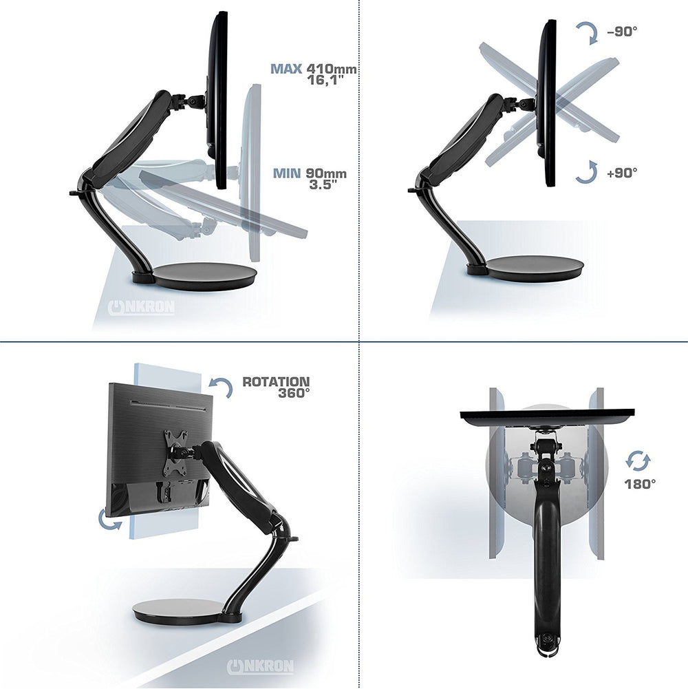 ONKRON Free Standing Monitor Desk Mount for 13 to 27-Inch LCD LED Flat Screens up to 13.2 lbs G80FS