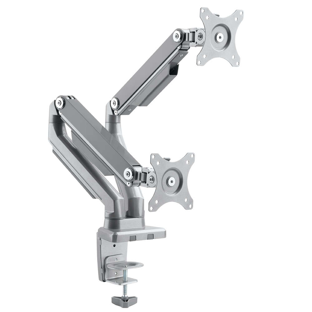 ONKRON Dual Monitor Desk Mount for 23 to 32-Inch Flat Screens up to 17.6 lbs Full Motion Arm Silver (MS160)
