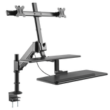 "ONKRON sit-stand Workstation with Dual Monitor Mounts for 17"" - 27 Inch Monitors hight adjustable W4GD"