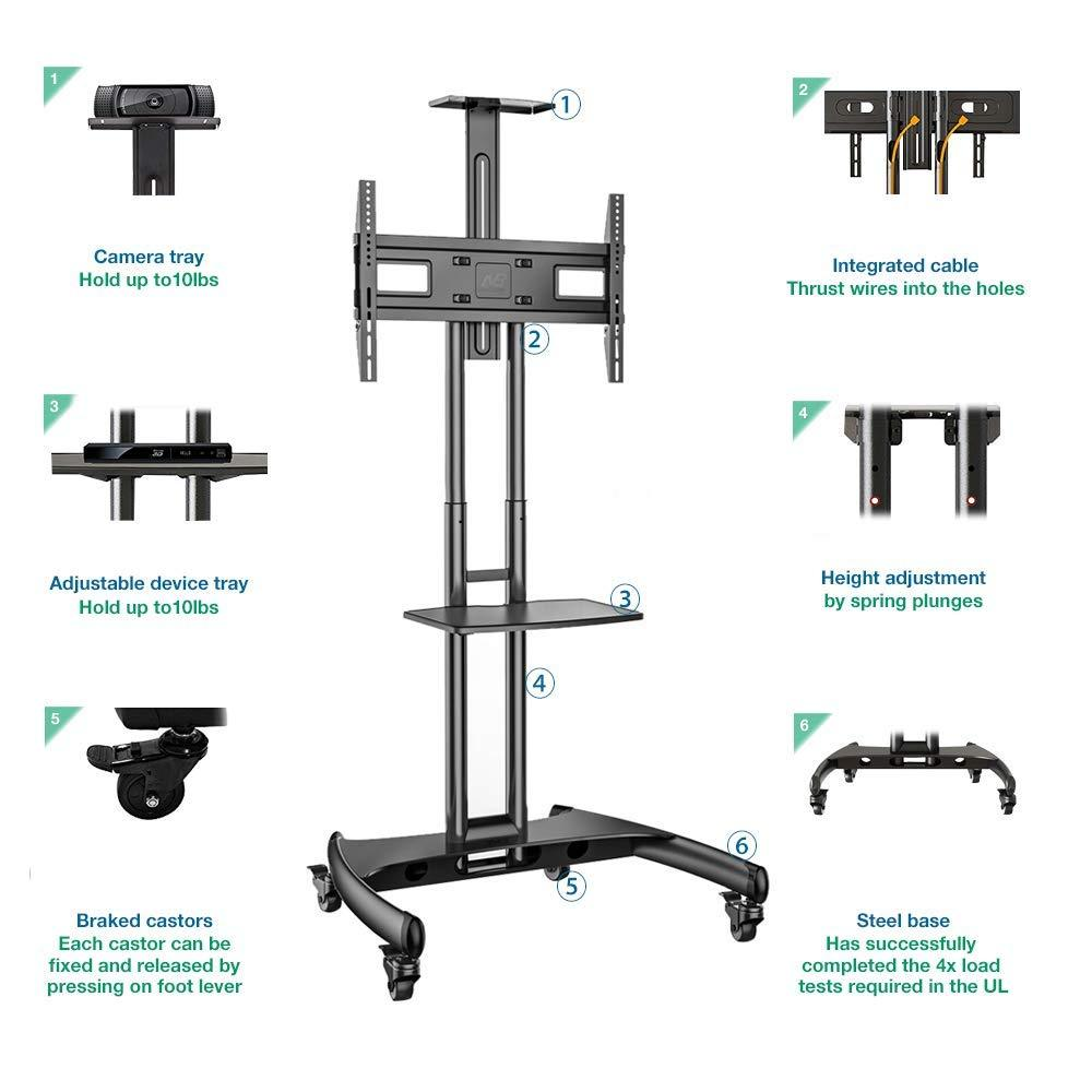 "Universal Mobile TV Stand Rolling TV Cart for 32"" – 65 Inch LCD LED OLED Flat Panel Plasma Screens up to 100 lbs with AV Shelf (Black)"