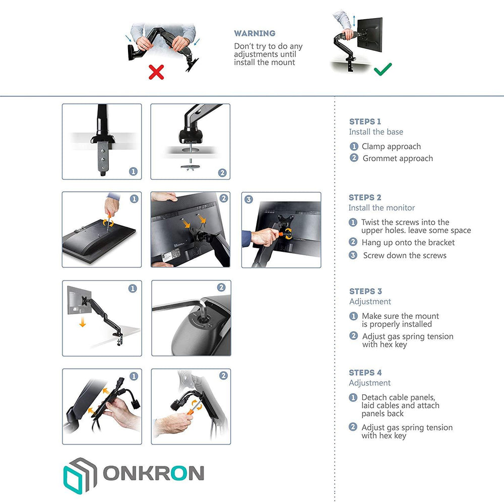 The ONKRON Monitor Desk Mount for 13 to 27-Inch LCD LED OLED Screens up to 14.3 lbs G80 Black